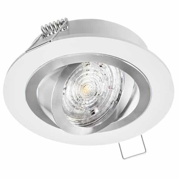 Stropné bodové podhľadové svietidlo OPAL, nastaviteľné, biele striebro