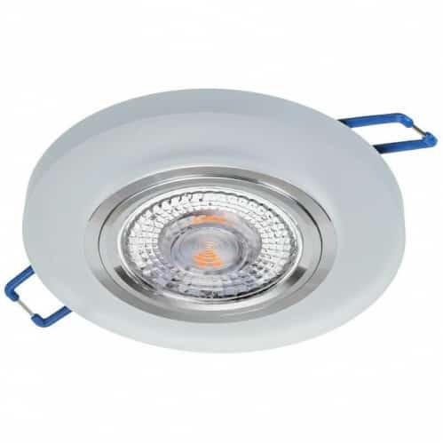 Sklenené bodové podhľadové svietidlo pevné GLASSO-O-S, pevné, biela matná