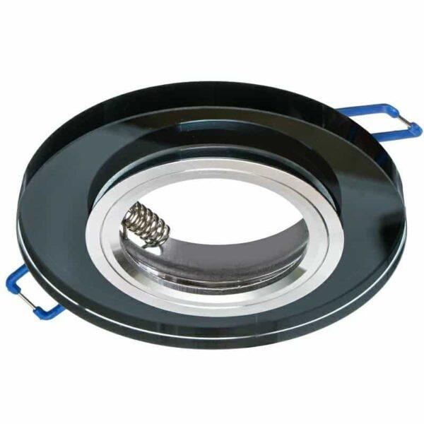 Sklenené bodové podhľadové svietidlo pevné GLASSO-O-S, pevné, čierne