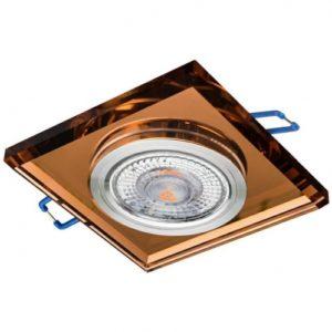 Sklenené bodové podhľadové svietidlo GLASSO-K-S, pevné, medená