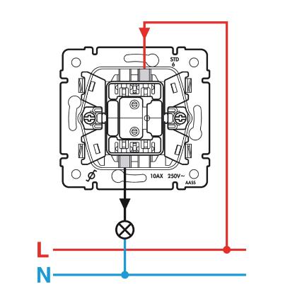 Schéma jednopáčkového vypínača