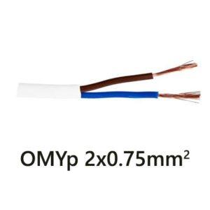 Plochý kábel OMYp 2-žilový 2x0.75mm2, 1m