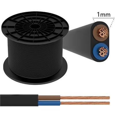 Plochý kábel 2-žilový, 2 x 1.00mm2 čierny 1m