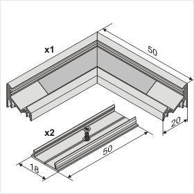 LED profil kútový 90°, anodizovaný hliník