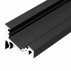 LED profil rohový bez krytky, čierny hliník 1m