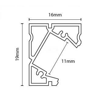 Rohový profil Minilux bez krytky, 1m