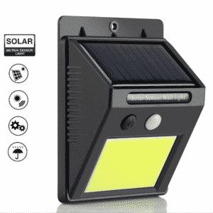 Nástenné solárne LED osvetlenie, IP65 COB, so senzorom, studená biela