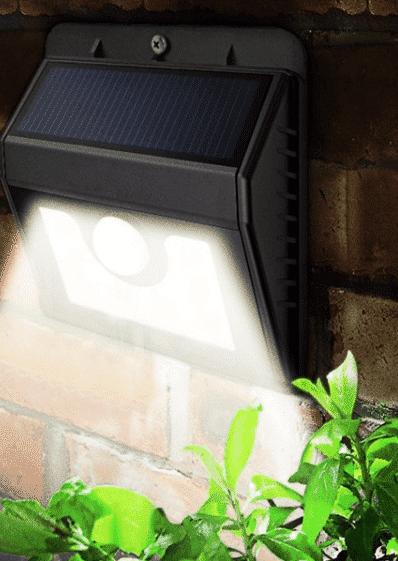 Nástenné solárne LED osvetlenie, IP65, so senzorom, studená biela
