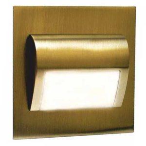 Schodové svietidlo štvorcové BERYL, teplá biela, mosadz