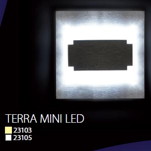 Schodové svietidlo štvorcové TERRA MINI, studená biela, brúsené striebro