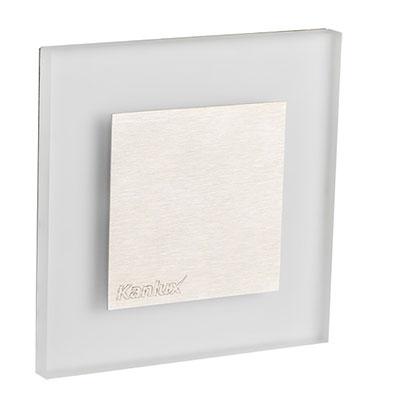 Schodové svietidlo štvorcové APUS MINI, teplá biela, brúsené striebro