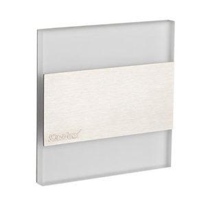 Schodové svietidlo štvorcové TERRA, studená biela, brúsené striebro