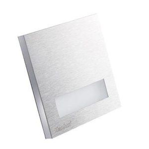 Schodové svietidlo štvorcové LINAR MINI, studená biela, brúsené striebro