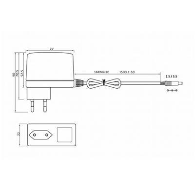 Zásuvkový napájací zdroj pre LED pásy 30W