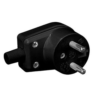 Sieťová uhlová vidlica na kábel 230V, čierna
