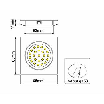 Nábytkové, štvorcové svietidlo PROS, zapustené 1.8W, 180lm, nikel, studená biela