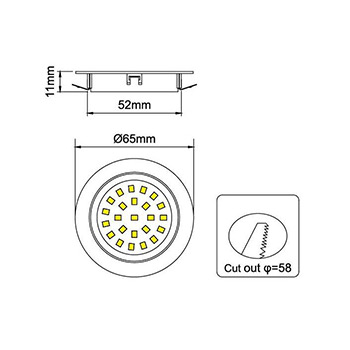 Nábytkové, kruhové svietidlo PROFI, zapustené 1.8W, 180lm, nikel, studená biela
