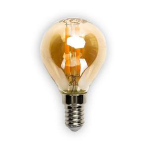 LED žiarovka AMBER E14 4W/420lm, G45, LED vlákno, teplá biela