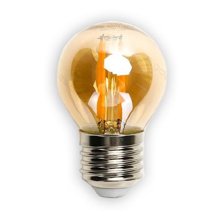 LED žiarovka AMBER E27 4W/420lm, G45, LED vlákno, teplá biela