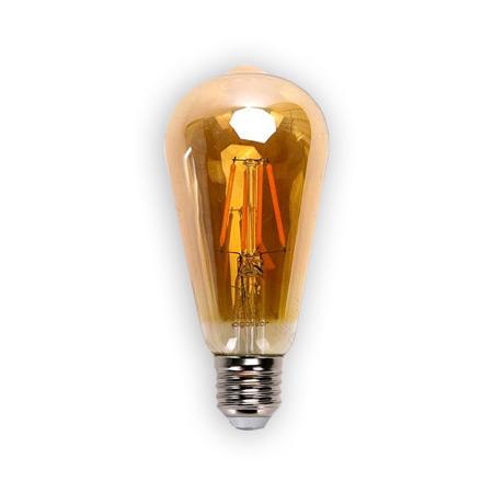 LED žiarovka AMBER E27 8W/850lm, ST64, LED vlákno, teplá biela